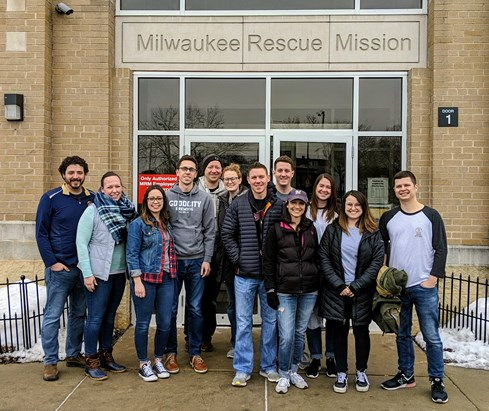 Good City volunteers outside of the Milwaukee Rescue Mission